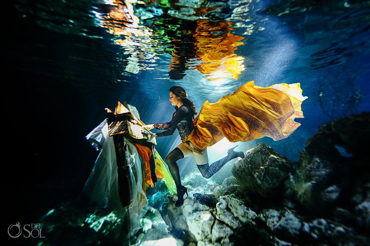 Healing Art Underwater Photography piano player musician dream portrait Riviera Maya mexico