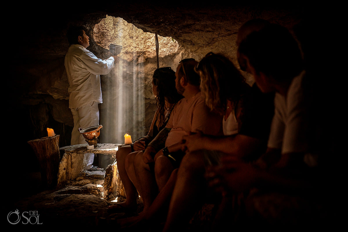 Shaman performs spiritual Mayan ceremony Mexico Cenote Proposal experience