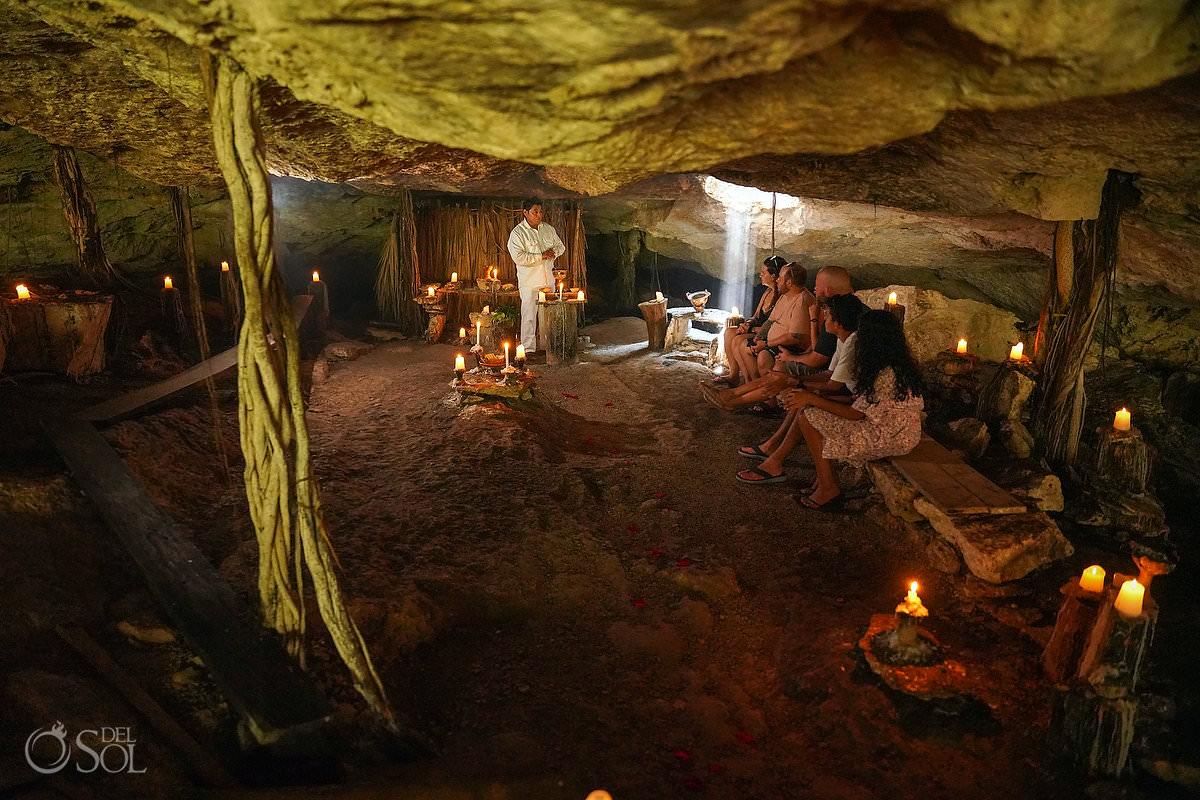 Mexico cenote Proposal spiritual Mayan ceremony candle decor cave