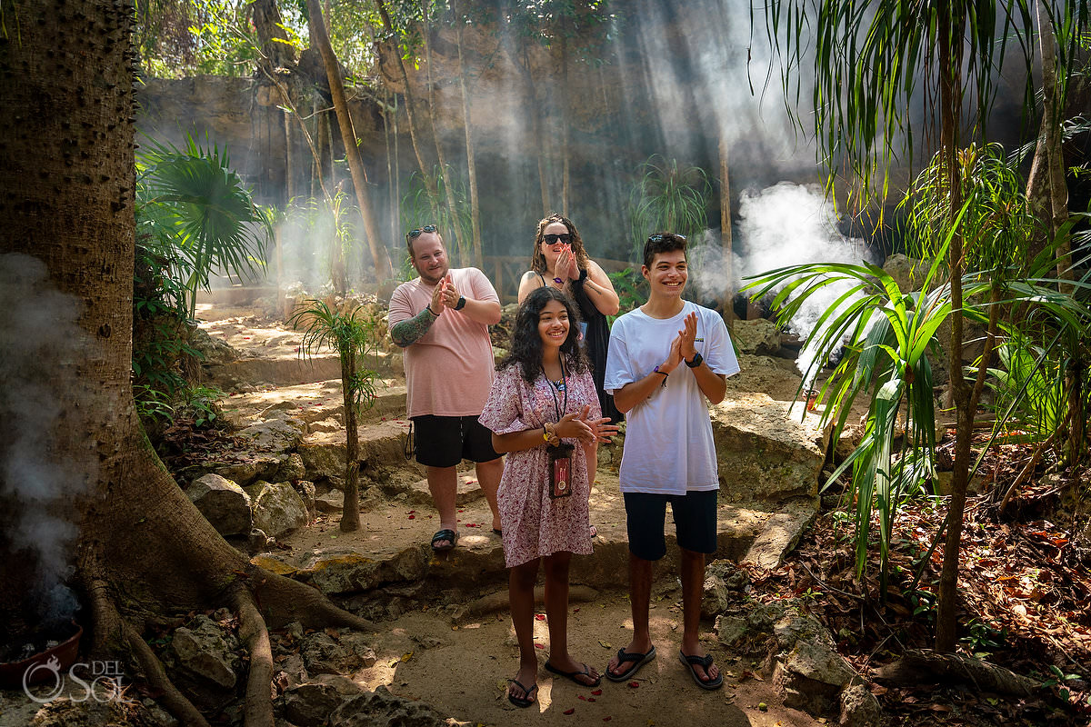 Blended Family proposal mexico Jungle cenote with Mayan Shaman Ceremony