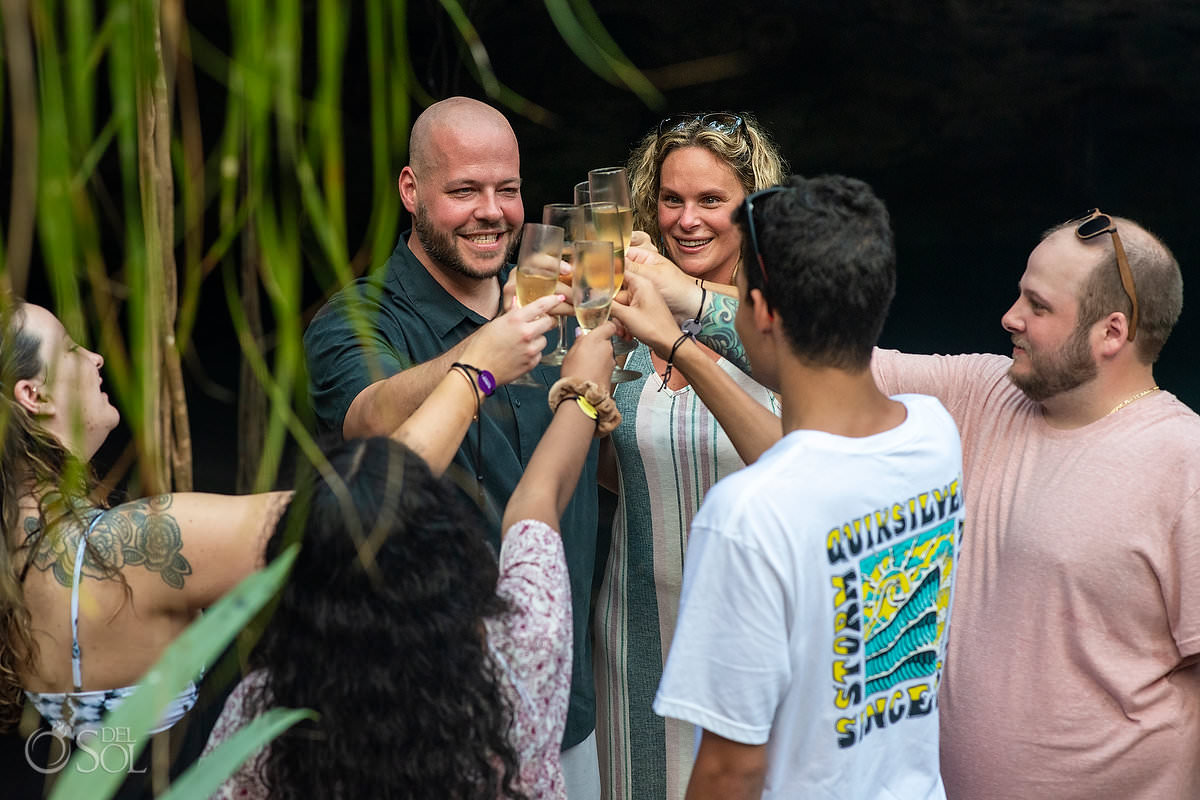 champagne toast just engaged Tulum cenote tour turns into a proposal