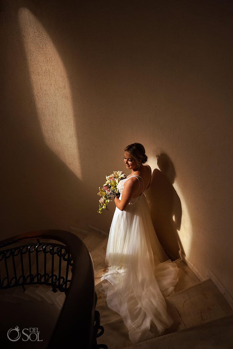 bride portrait epic staircase Villa Escapar Tankah Tulum Mexico