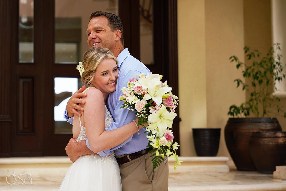 Bride first Look with father Villa Escapar Tankah Tulum Mexico