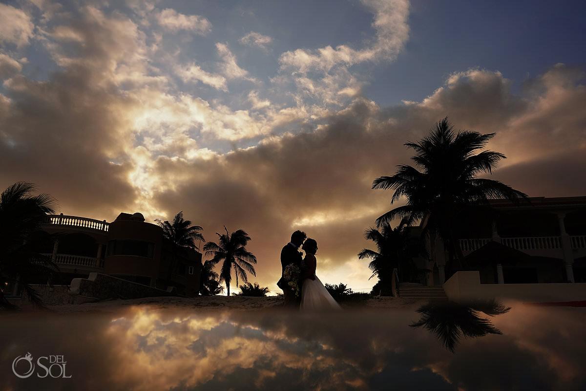 Sunset wedding Portrait Tulum Private Villa Escapar Tankah Mexico