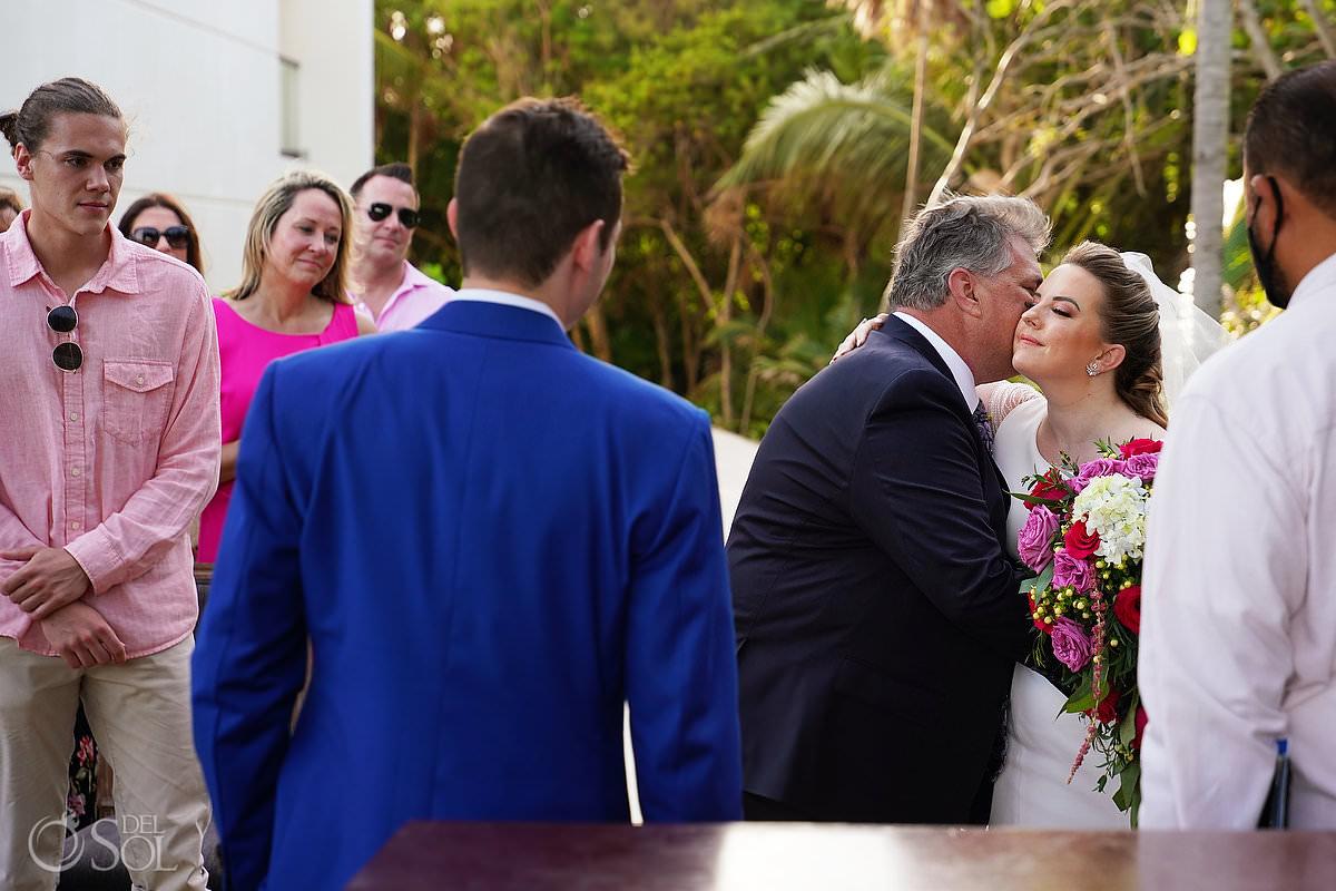 father kisses daughter Unico Riviera Maya Wedding bride entrance
