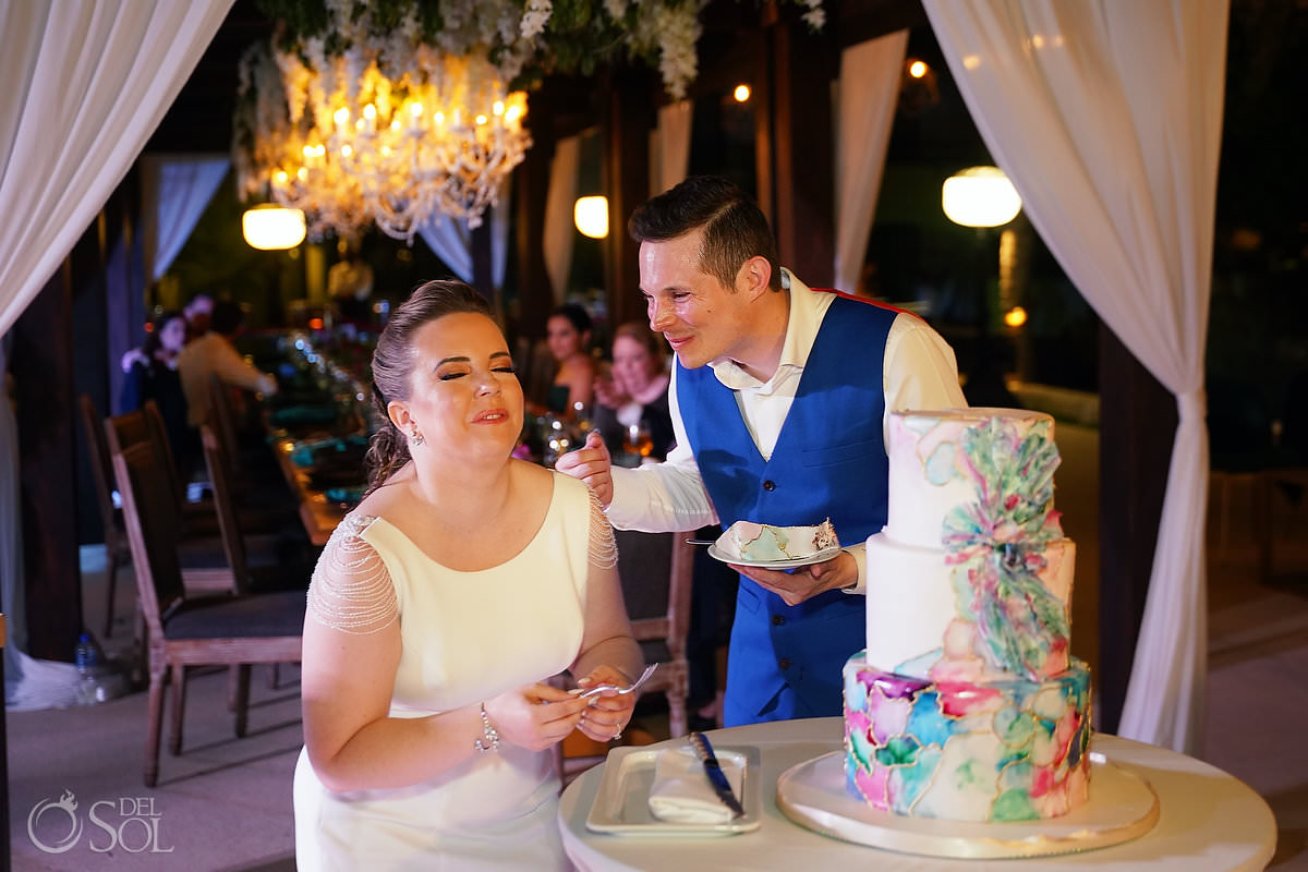 Cake Cutting Unico Riviera Maya Wedding Reception Costerra Terrace