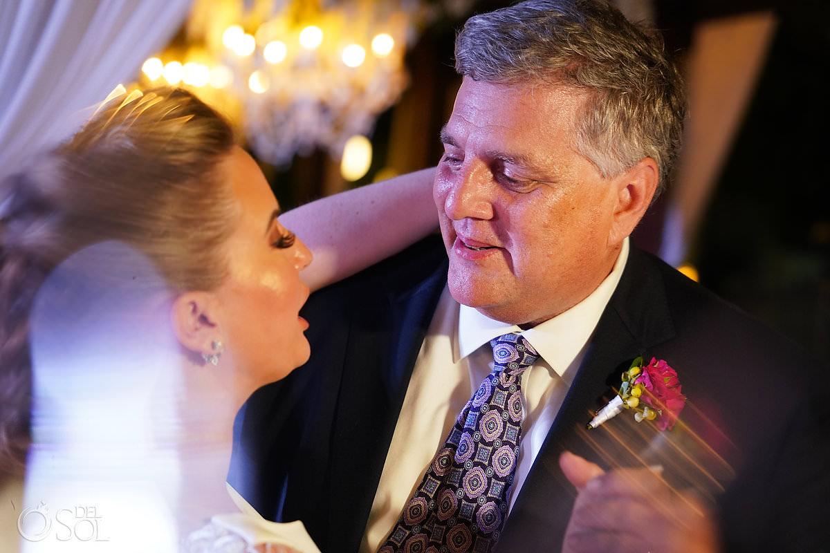 father daughter dance Unico Riviera Maya Wedding Reception Costerra Terrace