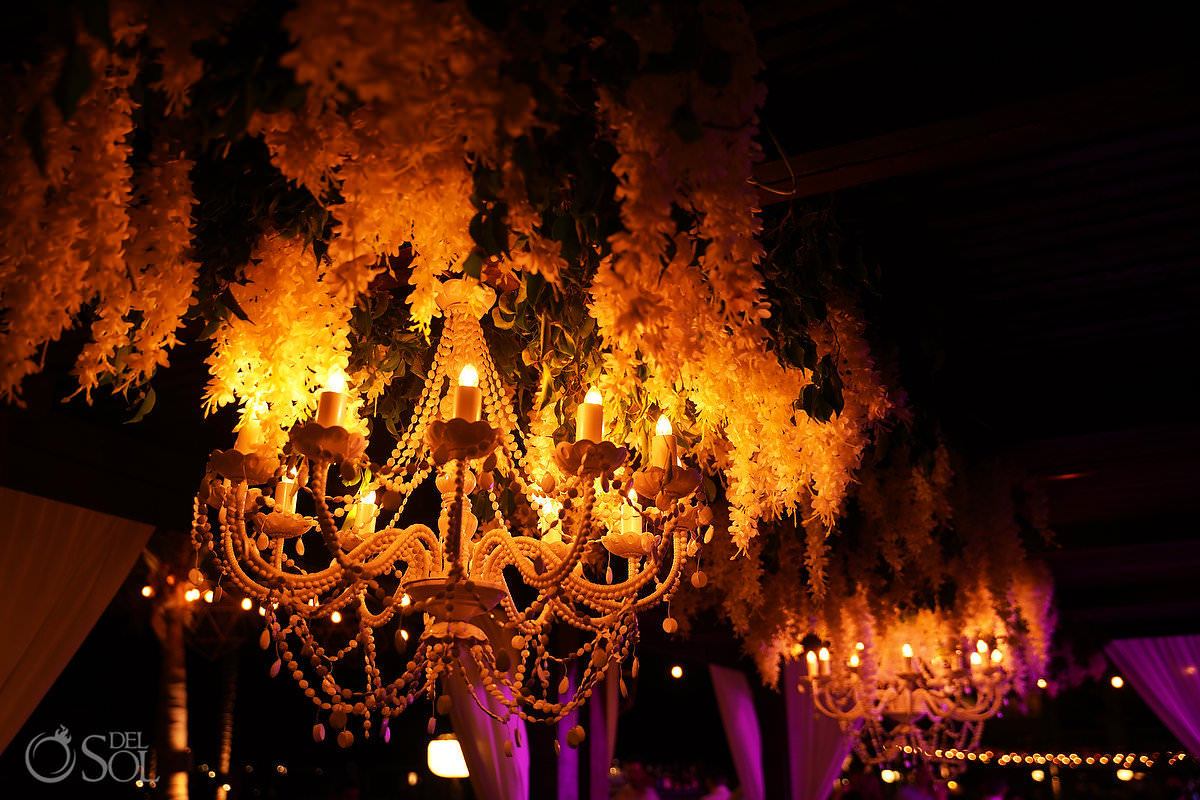 chandeliers and orchids, romantic wedding reception ideas